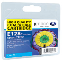 Jet Tec E128C remanufactured cyan Epson T1282 inkjet printer cartridge