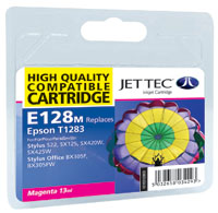 Jet Tec E128M remanufactured magenta Epson T1283 ink printer cartridge