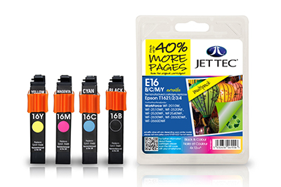 Jet Tec E16XLMP remanufactured Epson T1616 inkjet printer cartridges