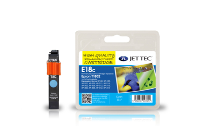Jet Tec E18C remanufactured cyan Epson T1802 inkjet printer cartridges