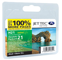 Jet Tec H21 remanufactured black HP21 C9351 inkjet printer cartridges