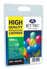 Jet Tec H88BXL remanufactured black HP88 C9396 ink printer cartridges