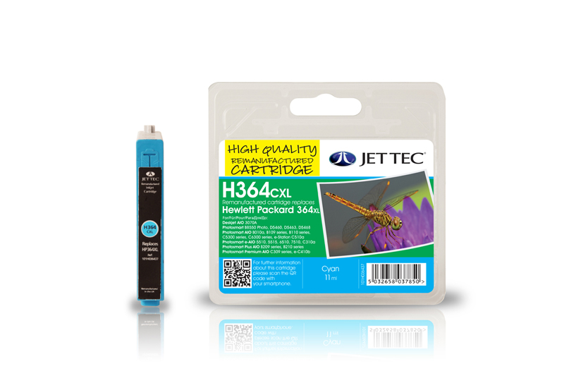 Jet Tec H364CXL remanufactured cyan HP364 CB323EE printer cartridges