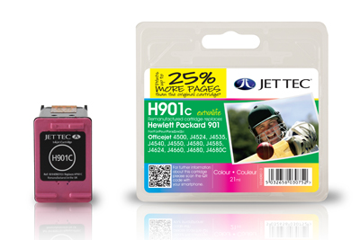 Jet Tec H901C remanufactured colour HP901 CC656A ink printer cartridge