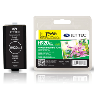 Jet Tec H920BXL remanufactured black HP920XL CD975AE inkjet cartridges