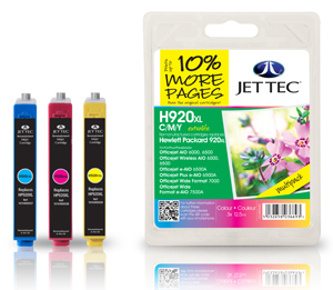 Jet Tec H920CMYXL remanufactured multipack HP920XL ink print cartridge