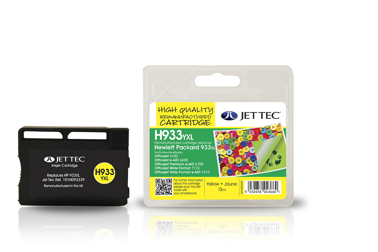 Jet Tec H933YXL remanufactured HP933XL CN056AE yellow ink cartridges