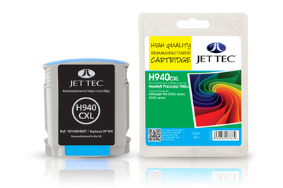 Jet Tec H940CXL remanufactured cyan HP940XL C4907AE ink cartridges