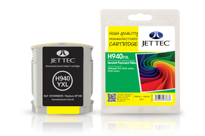 Jet Tec H940YXL remanufactured yellow HP940XL C4909AE ink cartridges