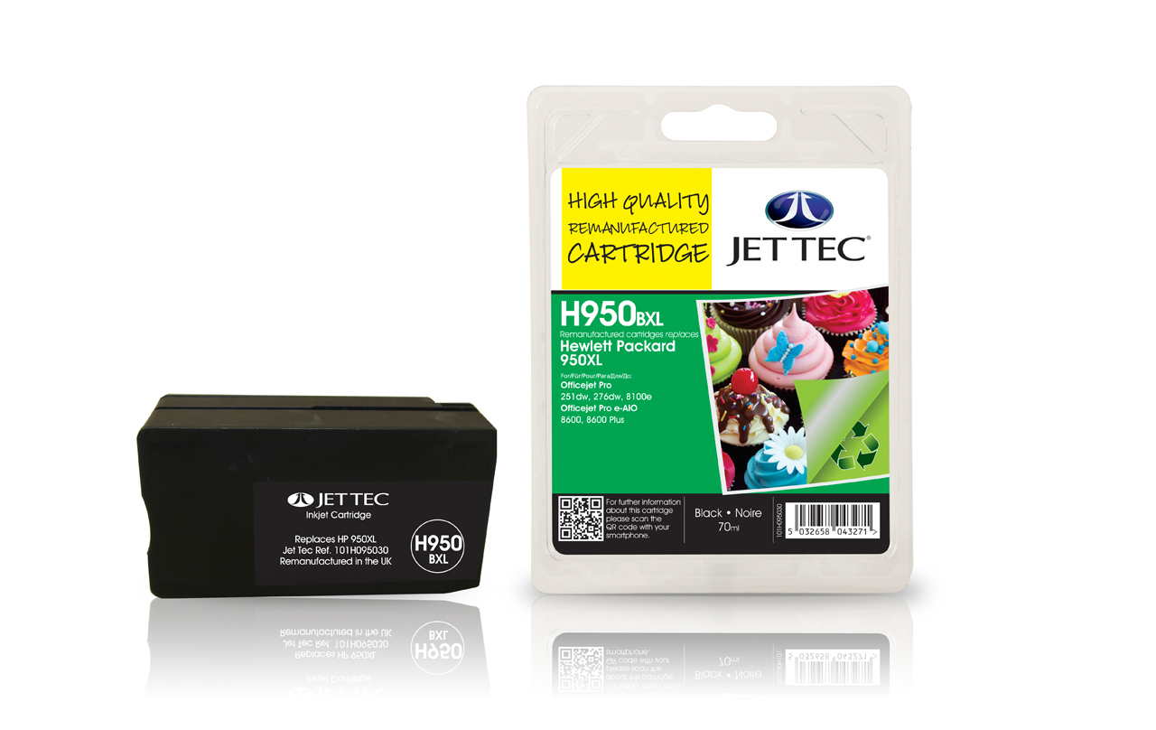 Jet Tec H950BXL remanufactured HP950XL CN045AE black ink cartridges
