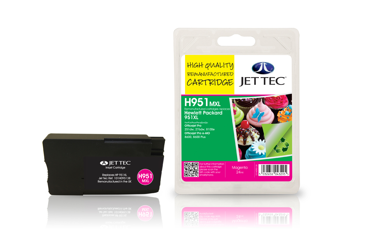Jet Tec H951MXL remanufactured HP951XL CN047AE magenta ink cartridges