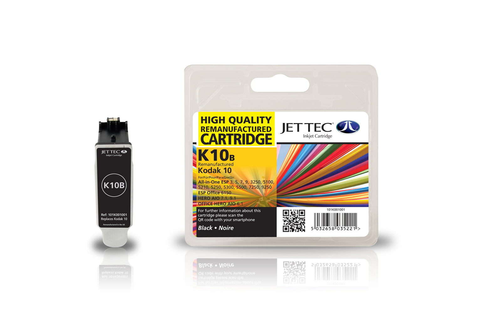 Jet Tec K10B remanufactured Kodak 10 black inkjet printer cartridges