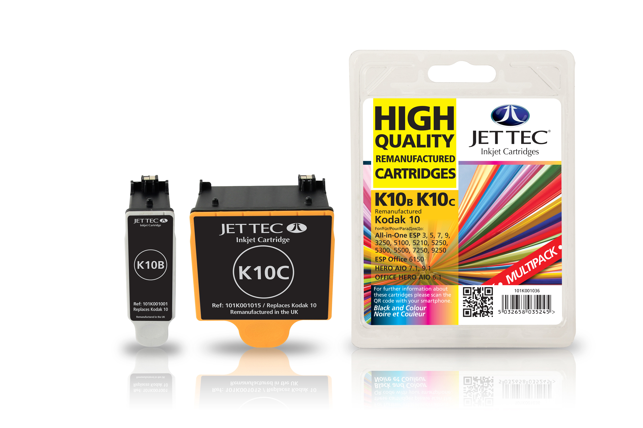 Jet Tec K10MP remanufactured Kodak 10 black & colour inkjet cartridges