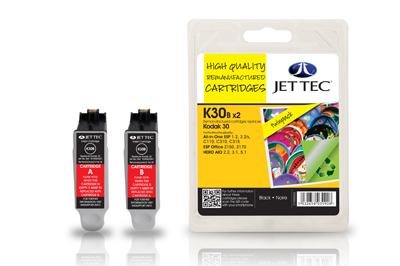 Jet Tec K30B remanufactured Kodak 30 black inkjet printer cartridges