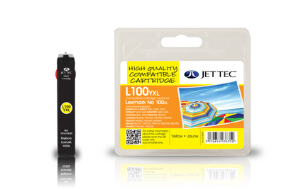 Jet Tec L100YXL remanufactured Lexmark 14N1071E yellow ink cartridges