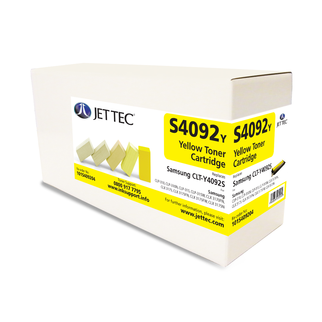 Jet Tec S4092Y remanufactured yellow Samsung CLT-Y4092S laser toners