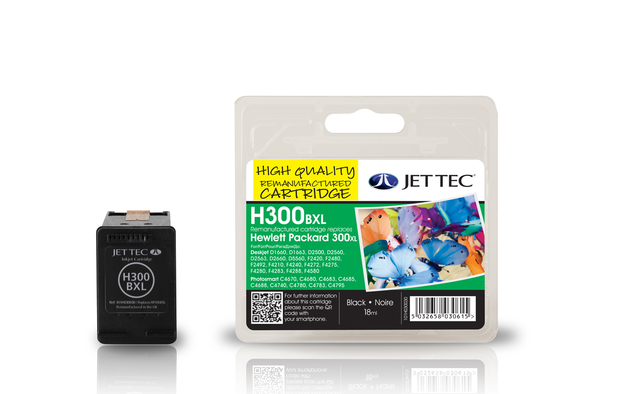 Jet Tec H300XLB remanufactured black HP300XL CC641EE inkjet cartridges