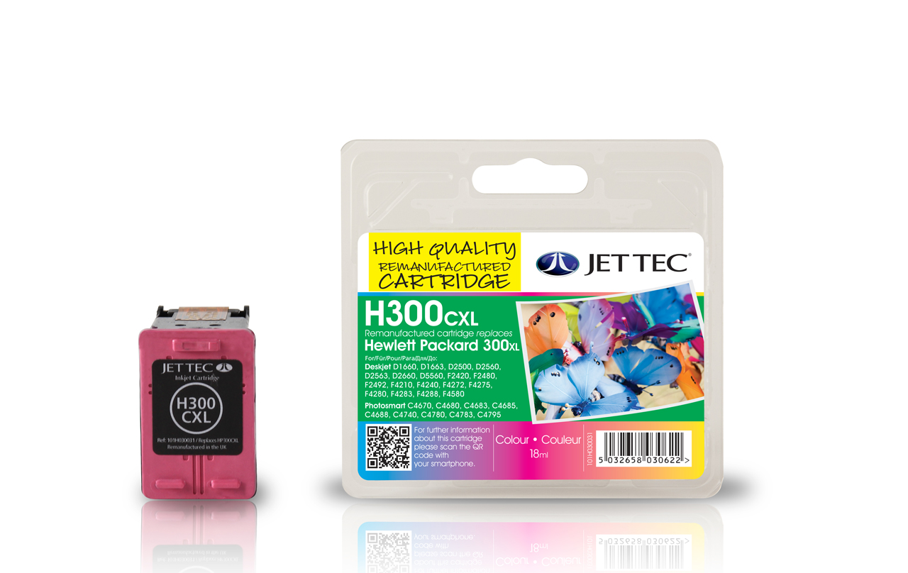 Jet Tec H300XLC remanufactured colour HP300XL CC644EE inkjet cartridge