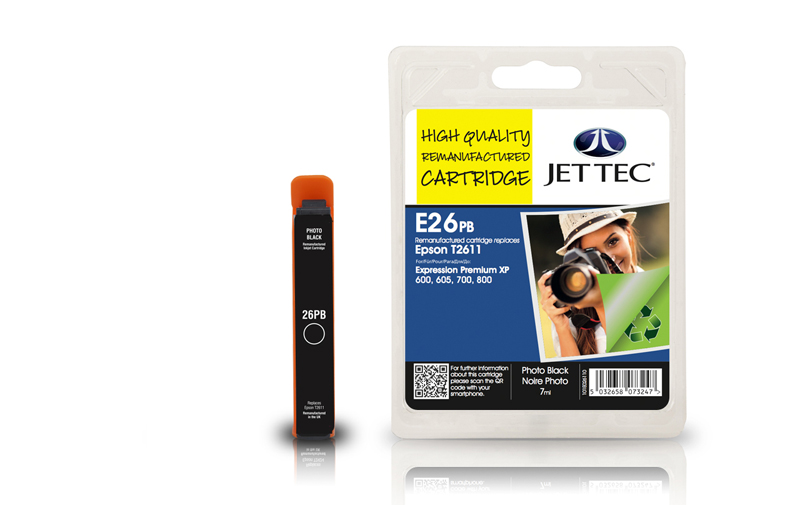 Jet Tec E26PB remanufactured Epson T2611 ink cartridges