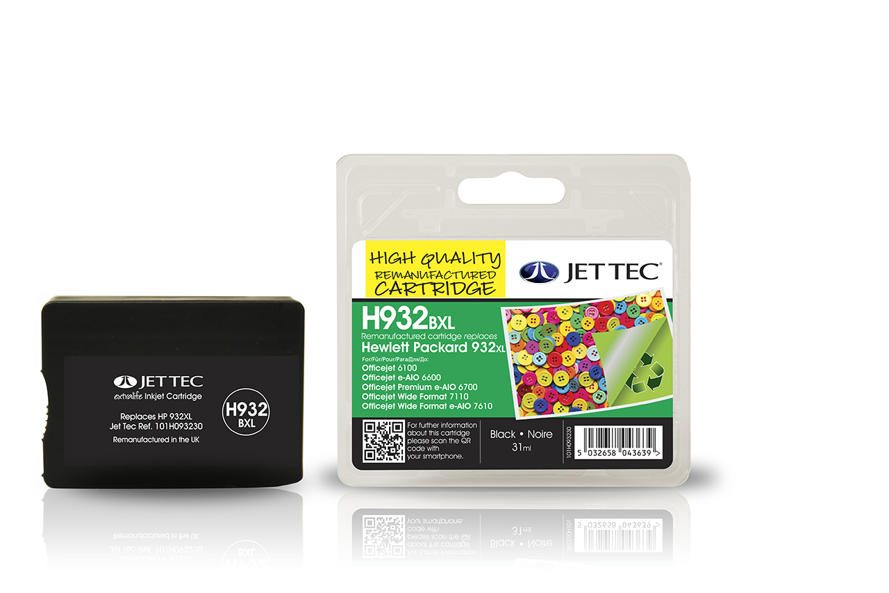 Jet Tec H932BXL remanufactured HP932XL CN053AE black ink cartridges